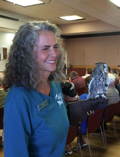 Jeri Roberts displays Oberon the Long-eared Owl Ambassador